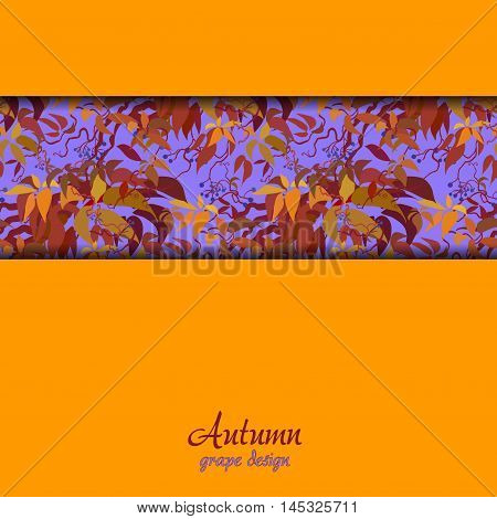 Autumn grape vine border design. Wilde grape with red orange leaves and berries. Horizontal stripe design and orange background. Colorful autumn or fall banner template. Vector stock illustration.