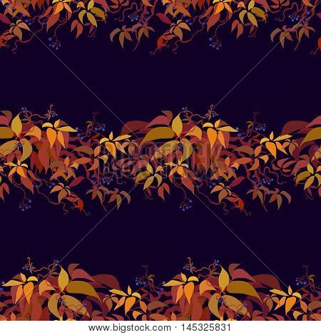 Autumn grape vine border seamless pattern design. Wilde grape with red orange leaves and berries. Horizontal striped autumn or fall design on dark background. Vector illustration stock vector.