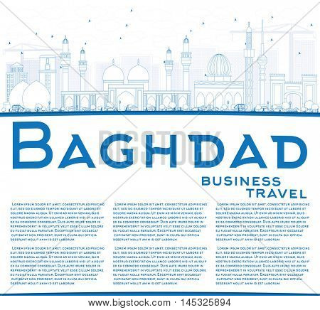 Outline Baghdad Skyline with Blue Buildings and Copy Space. Vector Illustration. Business Travel and Tourism Concept with Historic Buildings. Image for Presentation Banner Placard and Web Site.