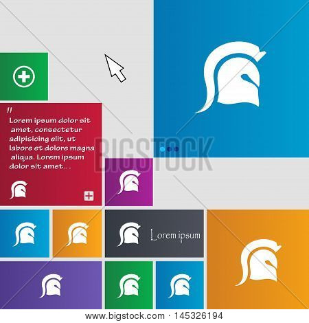 Spartan Helmet Icon Sign. Buttons. Modern Interface Website Buttons With Cursor Pointer. Vector
