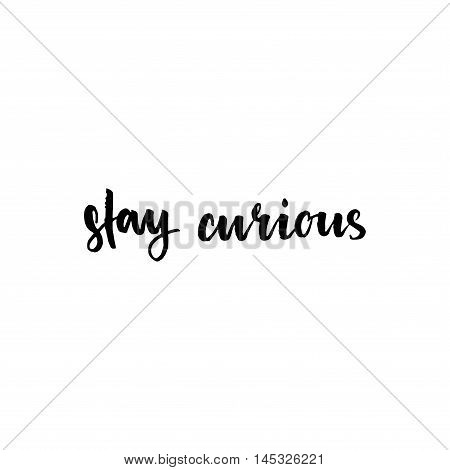 Stay Curious Inspirational Lettering Design.