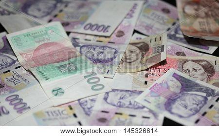 czech money, czech crown, Various bills as background