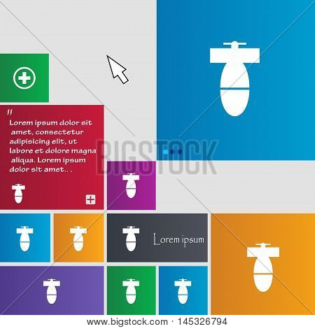 Mortar Mine Icon Sign. Buttons. Modern Interface Website Buttons With Cursor Pointer. Vector