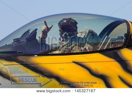 ZARAGOZA SPAIN - MAY 20 2016: Pilot in the cockpit of a fighter jet