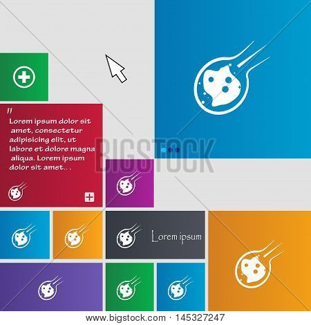 Flame Meteorite Icon Sign. Buttons. Modern Interface Website Buttons With Cursor Pointer. Vector