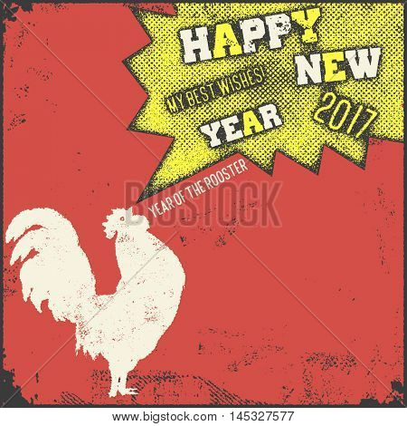 Christmas and New Year lettering calligraphy greeting card with 2017 year of the red fire rooster. Vector illustration