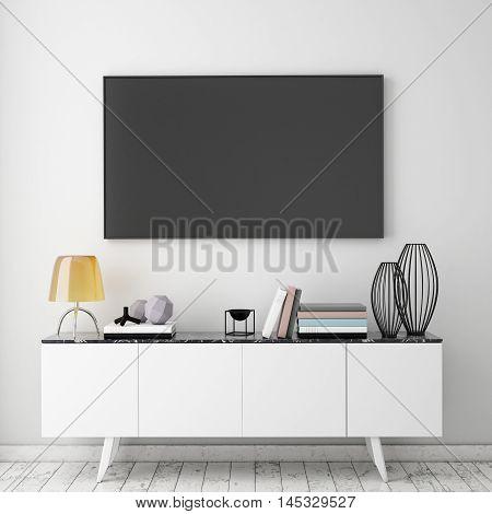 3D rendering mock up tv screen with vintage hipster loft interior background