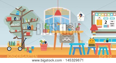 Children school vector background. Preschool classroom with desk, chairs and toys. Flat style cartoon illustration.