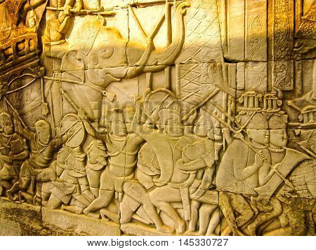 The detail of stone carvings in the Angkor Wat, Cambodia.
