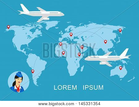 illustration of a stewardess in blue uniform against the background of the world map.Travel concept