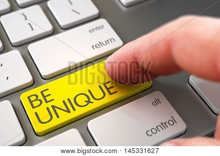 Finger Pushing Be Unique Yellow Button on Laptop Keyboard. 3D Illustration.