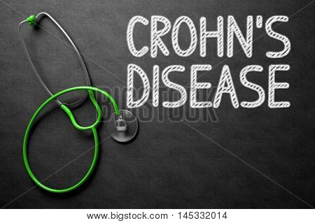 Medical Concept: Crohns Disease Handwritten on Black Chalkboard. Medical Concept: Crohns Disease on Black Chalkboard. 3D Rendering.