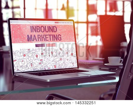 Inbound Marketing Concept. Closeup Landing Page on Laptop Screen in Doodle Design Style. On Background of Comfortable Working Place in Modern Office. Blurred, Toned Image. 3D Render.
