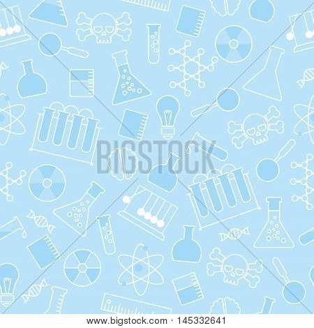 chemical seamless pattern, chemical laboratory supplies seamless pattern, flask and test tube and beaker