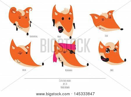 Cute vector set of playful foxes heads with various emotions. Boring wow dead winging muahaha lmao. Hand drawn cute illustration isolated on white background
