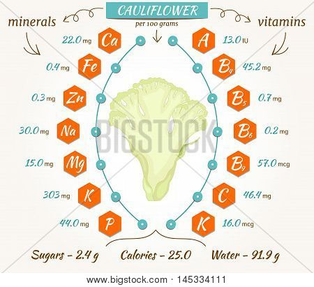 Cauliflower infographics nutrition facts calories and analysis. Flat style vector illustration. The content of minerals and vitamins in raw cabbage.