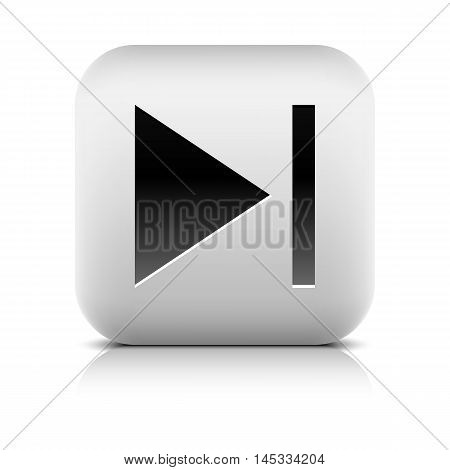 Media player icon with next sign. Rounded square web button with black shadow gray reflection on white background. Series in a stone style. Graphic vector illustration internet design element 8 eps