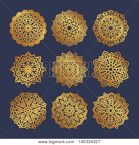Set of gold mandalas. Indian wedding meditation. Buddhist medallion. It can be used for tattoo prints on t-shirts design and ad restaurants. For postcards design wedding invitations photo overlays.