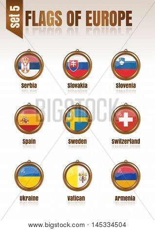 Flags of Europe in the form of circular pendants vector illustration. Set 5.