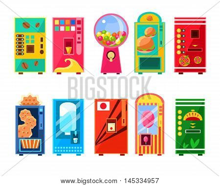 Food And Drink Vending Machines Design Set In Primitive Bright Cartoon Flat Vector Style Isolated On Blue Background