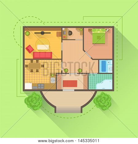 House Floor Interior Design Project View From Above. Flat Simple Bright Color Vector Plan Of Furniture Placement