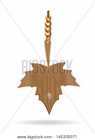 Gold pendant in the form of a maple leaf. Vector illustration.