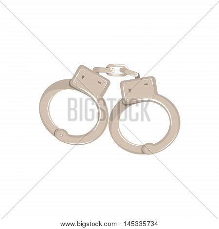 Pair Of Metal Hancuffs Old School Chicago Mafia Themed Illustration. Cool Colorful Vector Sticker In Stylized Geometric Cartoon Design