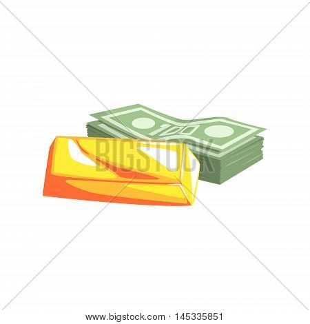 Golden Bar And Pack Of Dollars Old School Chicago Mafia Themed Illustration. Cool Colorful Vector Sticker In Stylized Geometric Cartoon Design
