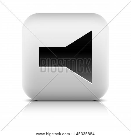 Media player icon with volume mute sign. Series in a stone style. Rounded square web button with black shadow gray reflection on white background. Vector illustration internet design element 8 eps