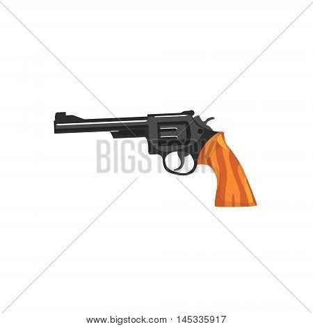 Vintage Small Revolver Gun Old School Chicago Mafia Themed Illustration. Cool Colorful Vector Sticker In Stylized Geometric Cartoon Design