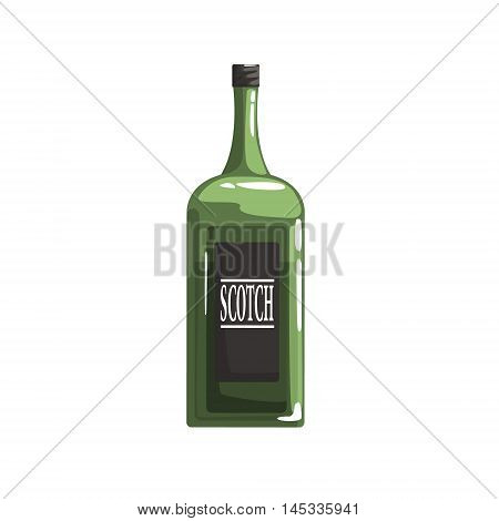 Green Glass Bottle Of Scotch Old School Chicago Mafia Themed Illustration. Cool Colorful Vector Sticker In Stylized Geometric Cartoon Design