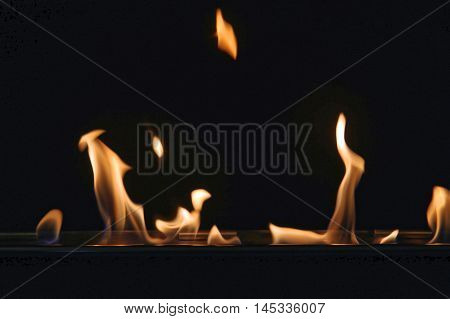Oil Burning Fire Flames Dark Close up