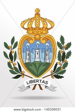 Coat of arms of Most Serene Republic of San Marino. Vector illustration.