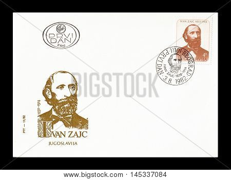 YUGOSLAVIA - CIRCA 1982 : Cancelled First Day Cover letter printed by Germany, that shows Ivan Zajc.