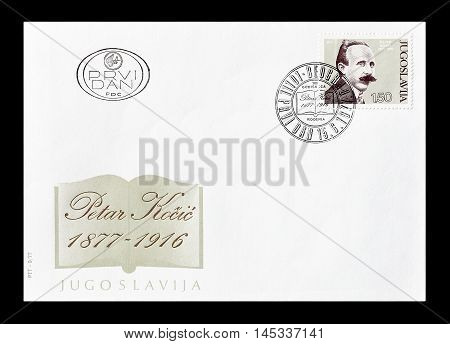 YUGOSLAVIA - CIRCA 1977 : Cancelled First Day Cover letter printed by Yugoslavia, that shows Petar Kocic.