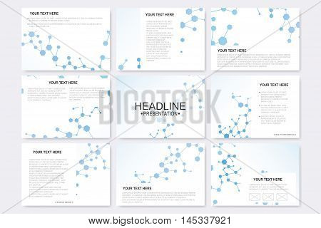 Big set of vector templates for presentation slides. Modern graphic background molecule structure and communication. Medical, science, chemistry, technology design..