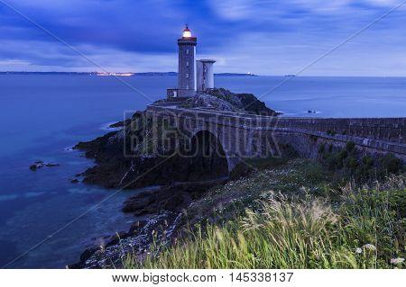 Petit Minou Lighthouse at night. Plougonvelin Brittany France