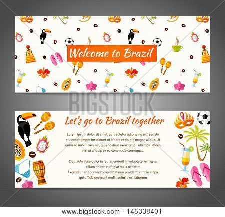 A banner with the famous Brazilian symbols characters and space for text. Vector illustration. Template with South America icons in flat style.