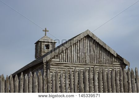 Wooden church inside the reconstructed fort of Fuerte Bulnes on the coast of the Magellan Strait in Patagonia, Chile. Originally founded in 1843.