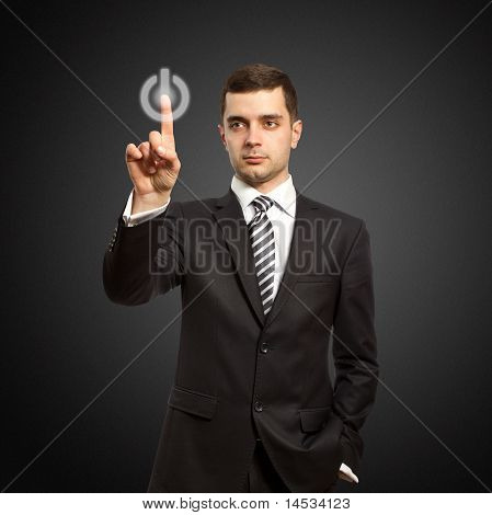 Businessman Push The Button