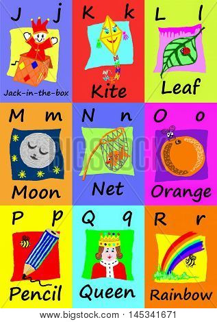 Alphabet flash cards collection J to R. Naive child like colorful illustrations (A-Z set 2 of 3)