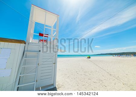 a lifeguard tower in Sardinia in Italy