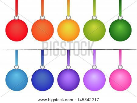 Set of Christmas Bulbs on White Background. Isolated vector illustration ten color variants of christmas bulb to choose.