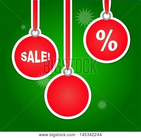 Christmas Sales Advertisement with Bulbs. Vector illustration with holiday and bussiness theme. Green and red shades of colors.