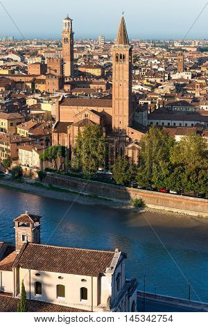 Aerial view of Verona with the church of St. Anastasia (1290-1471) and the medieval tower of Lamberti (XI century - 84 m.). UNESCO world heritage site - Veneto Italy