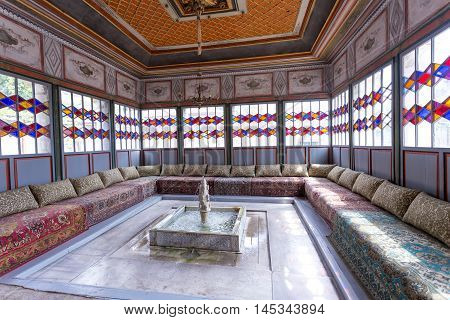 BAKHCHISARAY CRIMEA - 29.08.2016: THE KHAN'S PALACE. The interior of the Bakhchisaray Palace the residence of the Crimean khans XVI century