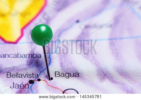 Bagua pinned on a map of Peru
