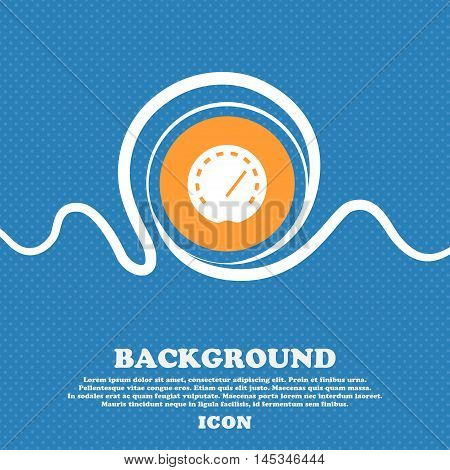 Speedometer Icon Sign. Blue And White Abstract Background Flecked With Space For Text And Your Desig