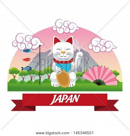 cat luck lucky japan culture landmark asia famous icon. Colorful design. Vector illustration