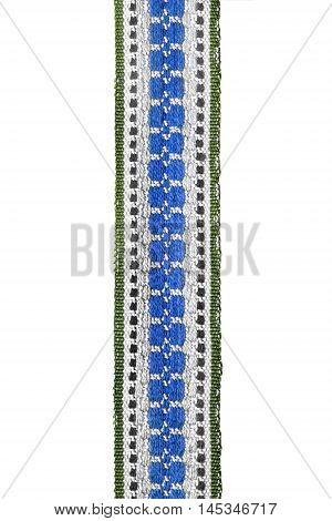 Ethnic embroidered ribbon isolated on white background